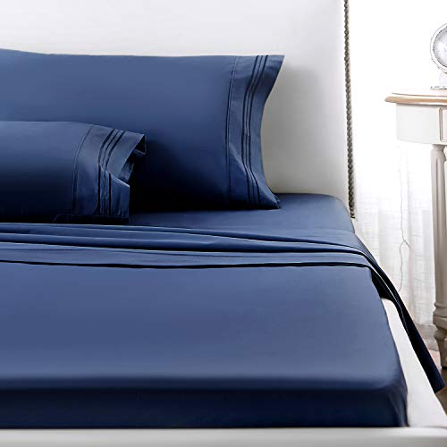 1 INCH Sheets Set, 4 Piece 1800 Series Premium Brushed Microfiber Bed Sheets, Breathable Cooling Comfy Bedding Deep Pocket Toddler Room, Guest Room, Hotel, RV (Navy Blue,Queen)
