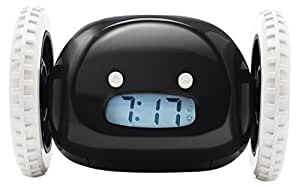 Nanda Home Clocky, the Original Runaway Alarm Clock on Wheels, Black (Loud for Heavy Sleepers), Perfect for Kids, New Grads, Teens & Even Dads