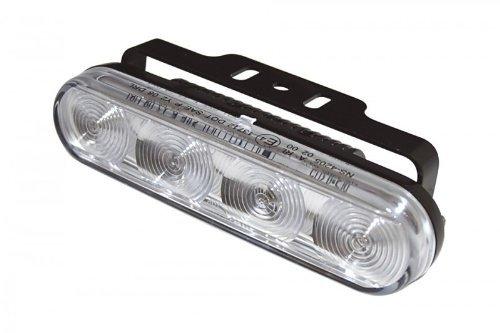 Motorrad LED-Tagfahrlicht mit 4 LEDs und Standlichtfunktion rechteckiges Aluminium Gehäuse schwarz mit Universalhalter