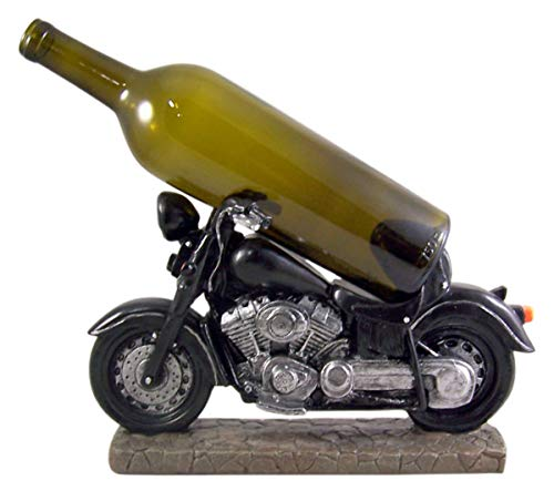 Black Motorcycle Tabletop Wine Bottle Holder, 12 1/2 Inches