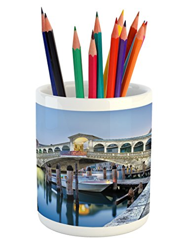 Ambesonne Venice Pencil Pen Holder, Morning Twilight Grand Canal Rialto Bridge Water Reflection Scenic Urban, Printed Ceramic Pencil Pen Holder for Desk Office Accessory, Silver Blue ()