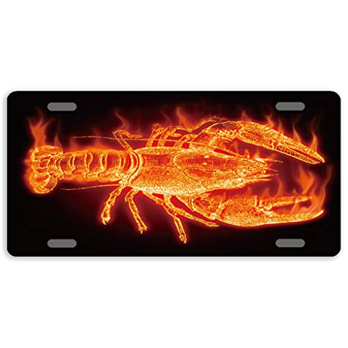 (Eprocase Funny License Plate Lobster Metal License Plate Covers Decorative Automotive Tag Sign Novelty Car Tags 4 Holes, 12 x 6)