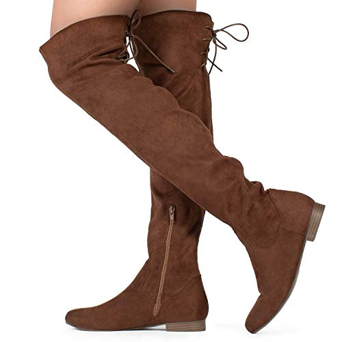 RF ROOM OF FASHION Women Fashion Comfy Vegan Suede Side Zipper Over The Knee Boots Prenium Brown Su