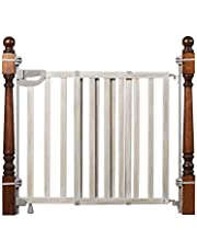 Summer Infant Wood Banister & Stair Safety Gate - 33 – 46 Inch, Birch Stain with Gray Accents (27910)