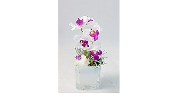 Orquídea rosada, blanca, violeta en un pote de cristal blanco ...