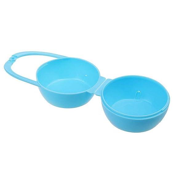 Ogquaton Recipiente de pezón para bebé Caja de chupete portátil Caja de almacenamiento de chupete Contenedor de chupete para uso de Ourdoor 1pcs azul