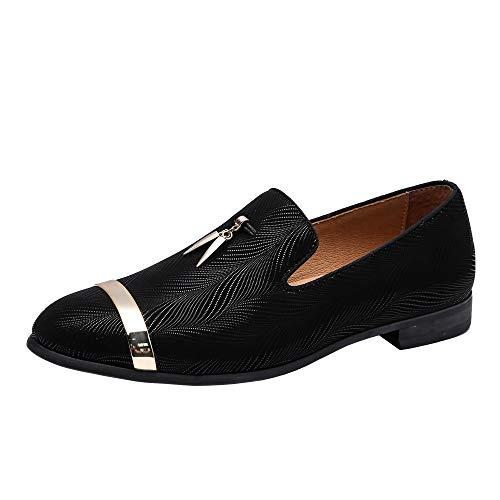 Heyikeyue Men's Genuine Leather Metallic Textured Slip-on Glitter Loafers Dress Shoes Smoking Slipper (9.5 M US, Black)