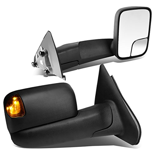 Dodge Ram 1500-3500 Pair of Black Tow Mirrors Amber LED Turn Signal Lights