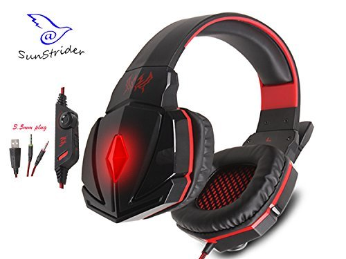 KOTION EACH G4000C Stereo Overear Gaming Headphone Gaming Headset Headband with Mic and Volume Control for Laptop and PC Game(balck&red)
