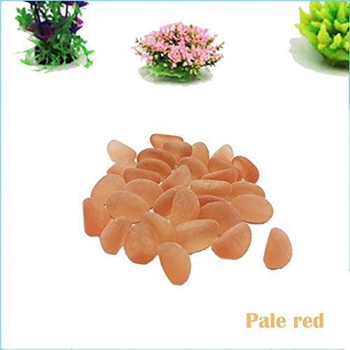 Pukido 100g Fish Tank Landscape Stone Natural Frosted Sea Glass Color Stone Glass for Aquarium Fish Tank Sand Stones Scenery Decoration - (Color: Pale red, Size: 2.5x1.5)