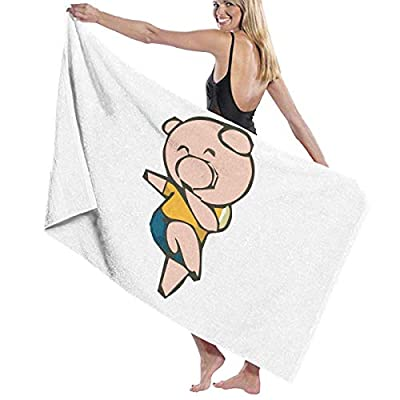 BAGT Luxury Oversized Beach Towels, Pig Lady Prints Bath Towel Wrap Womens Spa Shower and Wrap Towels Swimming Bathrobe Cover Up for Ladies Girls - White