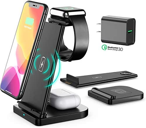 3 in 1 Wireless Charger Stand, with Free QC3.0 Adapter, ABMAX Qi-Certified Charging Station for iPhone,Apple Watch and Airpods, 15W Wireless Charger Station for Apple Products,Samsung and many others