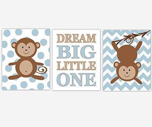 (Baby Boy Nursery Art Blue Brown Beige Tan Monkey Dream Big Little One Boy Bedroom Animal Prints Baby Nursery Decor SET OF 3 UNFRAMED PRINTS)