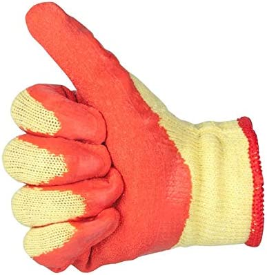 労働保護作業用手袋 労働手袋保護用耐摩耗性厚型滑り止め作業用手袋、12ペア (Color : Orange)