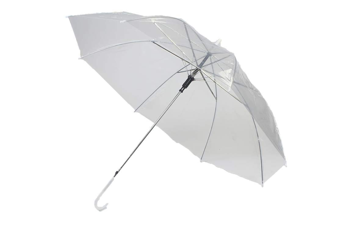 Kurop 4 pack Clear Transparent Rain Umbrella Parasol (White 4 pack)