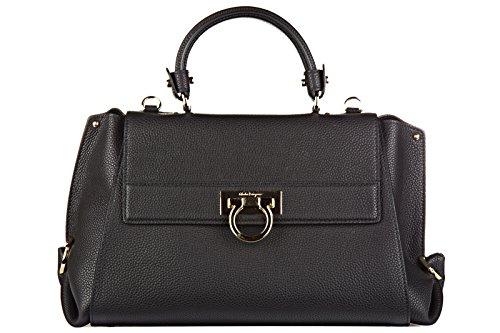 Salvatore Ferragamo women's leather handbag shopping bag purse sofia black