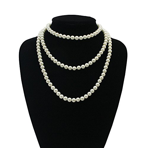 iLoveCos Long Faux Pearl Necklace 1920s Accessories Flapper Costume Jewelry for Women Roaring 20's Accessories 59 (1920s Gangster Fashion)
