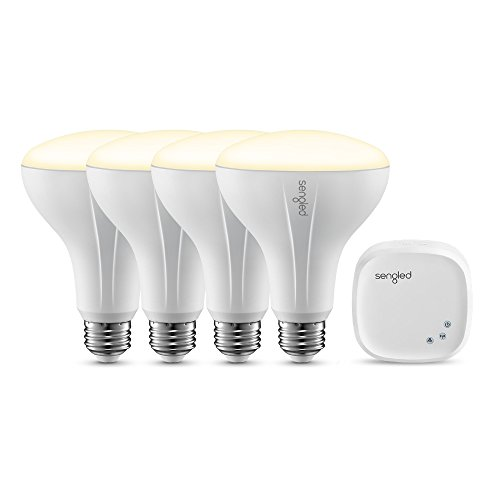 Element Classic by Sengled - Starter Kit (4 BR30 bulbs + hub) - 65W Equiv. Soft White (2700K) Smart LED Floodlight Bulbs, Zigbee, Compatible with Amazon Alexa, Google Assistant and (Plus Floodlight Kit)