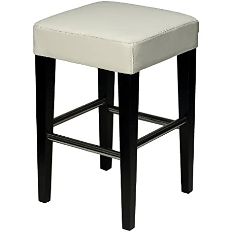 Cortesi Home Aspen White Counter Stool In Genuine Leather With Black Legs