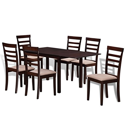SKB Family Brown Cream Solid Wood Extending Dining Table Set with 6 Chairs Vintage Mahogany Solid