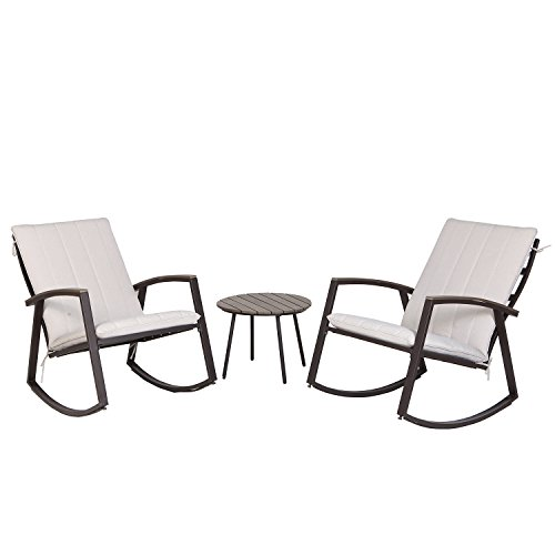 Grand patio 3 Pcs Patio Furniture Conversation Set, Bistro Set with 2 Rocking Chairs and One Side Table (Beige Cushion)
