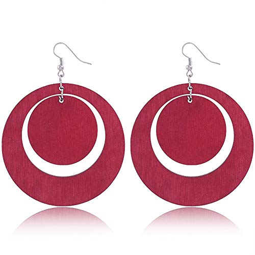 Wood Oval Pendant - Original Jewelry Fashion Oval Hollow Pendant Earrings Geometric Round Wood Pendant Earrings Jewelry For Women (red)