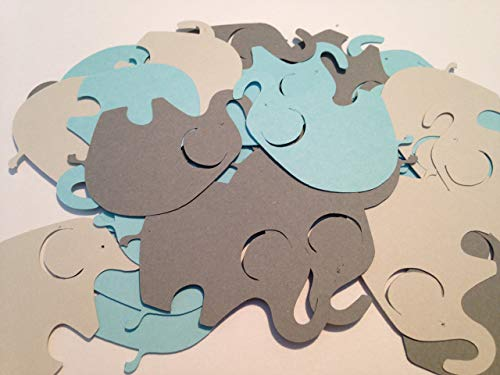 (50 Blue Gray Elephant Cutout 2 Inch Elephant Die Cut Embellishment Cupcake Topper Supplies)