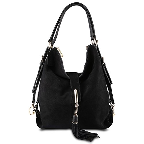 Firstider Hobo Shoulder Eisure Bag Women Leather Suede Messenger Handbag Nubuck Black rUSw4rOq7n