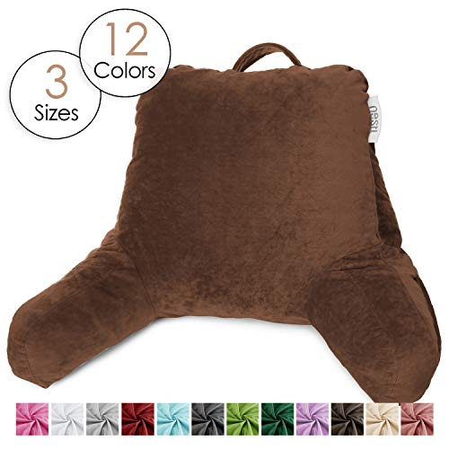 Nestl Reading Pillow, Petite Bed Rest Pillow with Arms for Kids & Young Adults - Premium Shredded Memory Foam TV Pillow - Brown Chocolate
