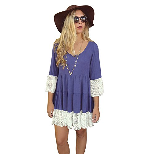 [MIXMAX Bohemian Lace Splice Loose Tunic Dress (X-Large, Bluish Violet)] (Hippie Dress)