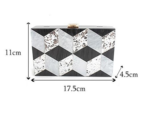 Clutch Acrylic Handbag Evening Stitching Shoulder Ladies Party Dress MSFS Silver Wedding OwEqP45W