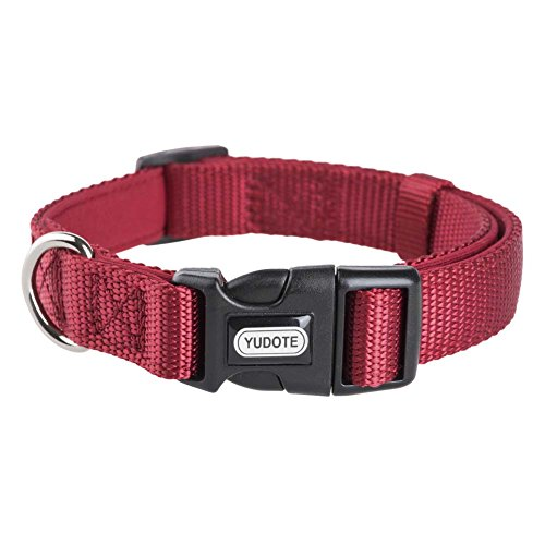 YUDOTE Basic Solid Dog Collars, Heavy Duty Nylon Dog Collar for Large Dogs, Adjustable, Soft, Thick, Red, Large, Neck 14