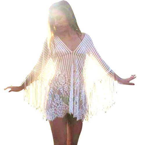(TOOPOOT Clearance Deals Sundress ❤ Women Tassel Loose Gauze Hem Beachwear Crochet Smock Bikini Cover up (Free Size, White))