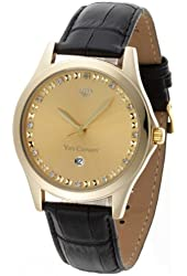 Yves Camani Men's Quartz Watch Golden Big Twinkle Gold/Black YC1028-A with Leather Strap