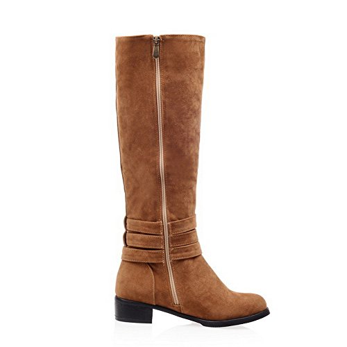 Heels Toe Closed Zipper Low Round Suede Allhqfashion Solid Women's Imitated Yellow Boots qztwnqxO8
