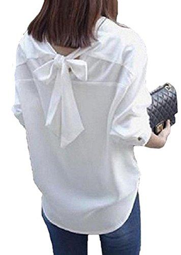 蒸留する器用腰[サコイユ] シャツ ブラウス トップス 背中 リボン ボタン 無地 長袖 レディース