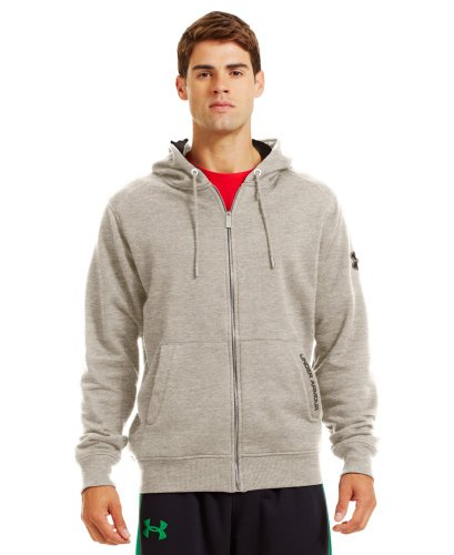 (Mens Under Armour Charged Cotton Storm FZ Hoody, Oatmeal Heather/Bureau/Beige/Khaki, S)