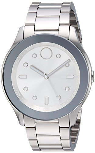 Women's Swiss-Quartz Watch with Stainless-Steel Strap, Silver, 19 (Model - Movado 3600415