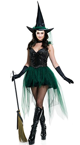 [AMZ PLUS Halloween Women's Sexy Witch Short Dress Stage Party Costume M] (Sexy Maternity Halloween Costumes)