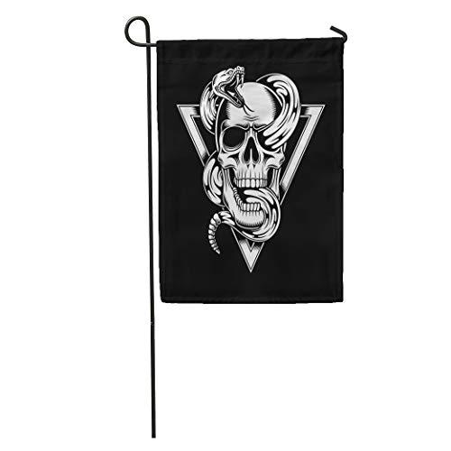 Bone Crest - Semtomn Garden Flag Black Skull Snake White Bones Clip Crest Death Emblem Head Home Yard House Decor Barnner Outdoor Stand 28x40 Inches Flag