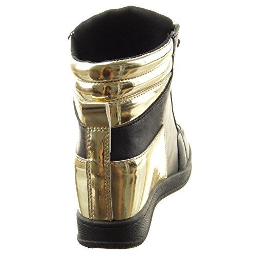 Sopily - Scarpe da Moda donna lucide verniciato Tacco zeppa 7 CM - Nero