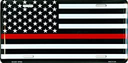 Thin Red Line USA Metal License Plate – 6x12 inch Black, White, and Red American Flag Auto Tag for Cars and Trucks – Recognize and Support the Courage of Firefighters, Fireman