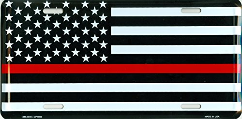 - Thin Red Line USA Metal License Plate - 6x12 inch Black, White, and Red American Flag Auto Tag for Cars and Trucks - Recognize and Support The Courage of Firefighters, Fireman