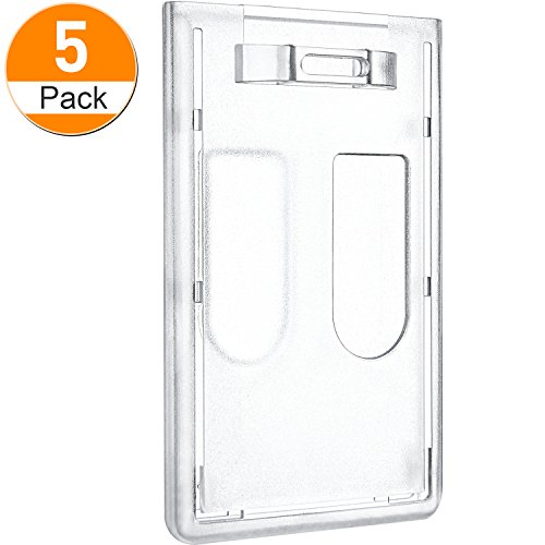 Maxdot Double Card ID Slot Heavy Duty Badge Holders Vertical with Thumb Slots (5)