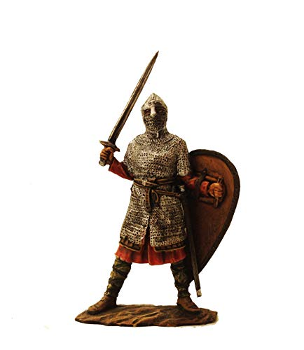 Military-historical miniatures Norman Knight XI Century Hand Painted Tin Metal 54mm Action Figures Toy Soldiers Size 1/32 Scale for Home Décor Accents Collectible Figurines Item #P1