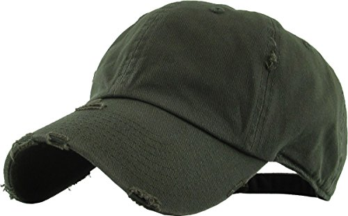 H-218-D33 Distressed Dad Hat Vintage Low Profile Polo Style Baseball Cap - Olive ()