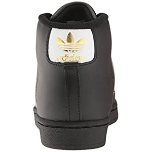 adidas Originals Unisex-Kids Pro Model J Sneaker, Core Black, Ftwr White, Gold Met, 5 M US Big Kid