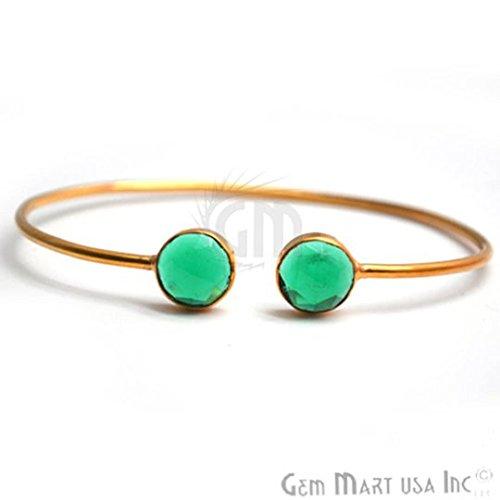 Bangle Emerald Gold Bracelets - Gold Bangle, Adjustable Bracelet, Bangle Bracelet, Hydro Emerald Bangle, Round Gemstone Bracelet (HEBA-19038)