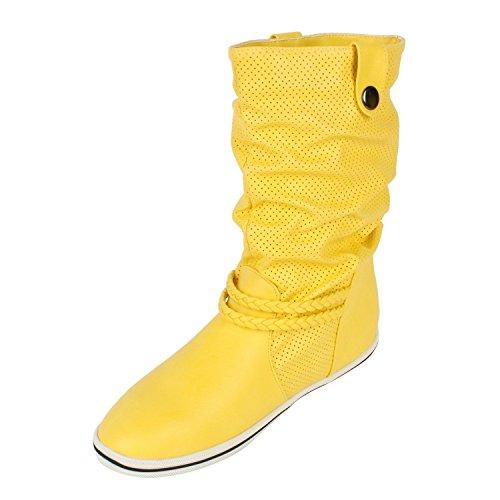 Damen Schlupfstiefel   Ungefütterte Freizeit Stiefel   Hochwertige Kunstleder Boots   Gr. 36-41 Gelb