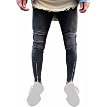 Neartime Pants Men,Hot Sale New Fashion 2018 Sportswear Elastic Fitness Ripped Slim Fit Motorcycle Vintage Denim Jeans Hiphop Streetwear Pants